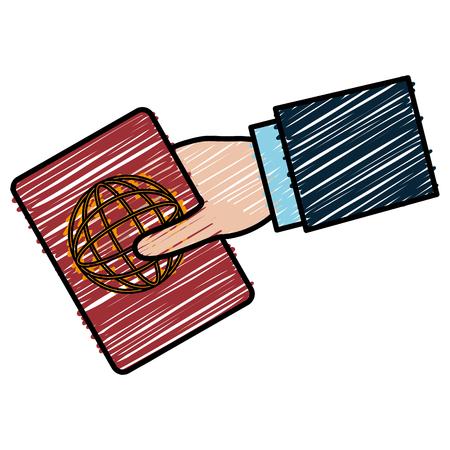Mano humana con diseño de ilustración de vector de documento de pasaporte Foto de archivo - 88652604