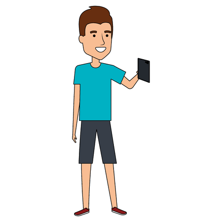 man taking a selfie vector illustration design