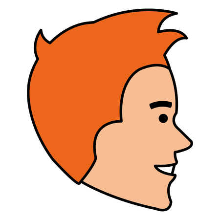 expressive face: young man head avatar character vector illustration design Illustration