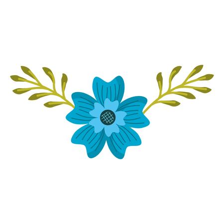 A periwinkle flower nature plant leaves decoration vector illustration