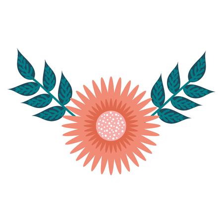 A dahlia flower floral ornament garden leaves decoration vector illustration
