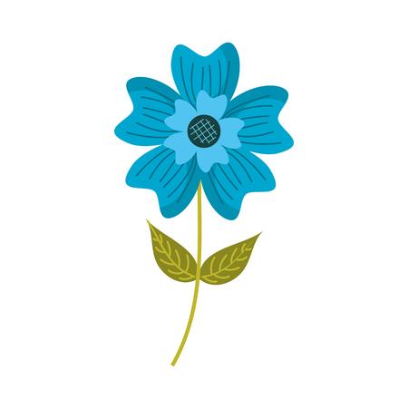 A periwinkle flower petal leaves stem nature plant vector illustration
