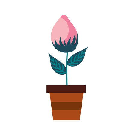A potted flower natural bud growth plant decoration vector illustration Иллюстрация