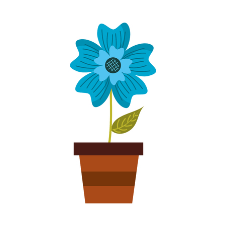A potted periwinkle flower adornment nature plant vector illustration