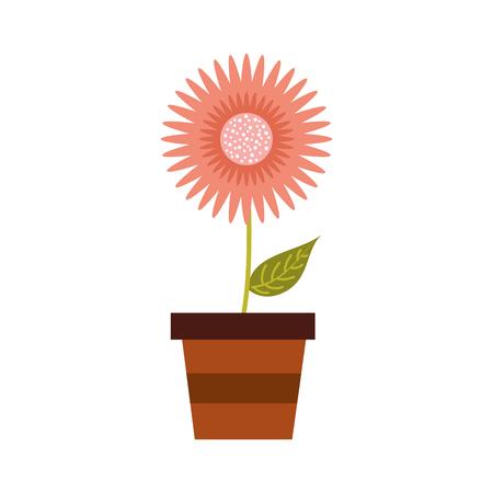 鉢植えのダリア花フローラルオーナメントガーデンイメージベクトルイラスト  イラスト・ベクター素材