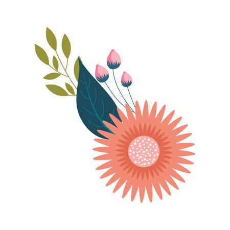 ダリア花葉つぼみフローラルオーナメントベクターイラスト