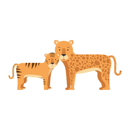 A wild tiger and leopard vector illustration design