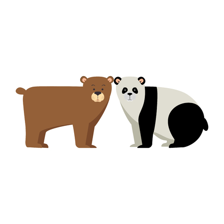 A wild bears panda and grizzly vector illustration design 向量圖像