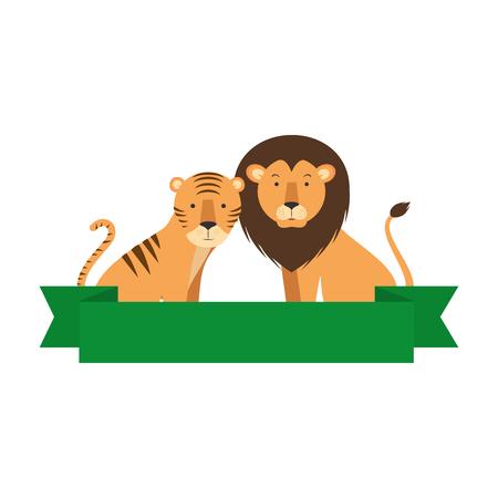 野生のトラとライオンのベクトルのイラスト デザイン  イラスト・ベクター素材