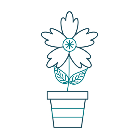 A potted crocus flower natural decoration ornament vector illustration
