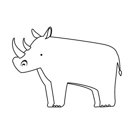 야생 코뿔소 격리 아이콘 벡터 일러스트 디자인 일러스트