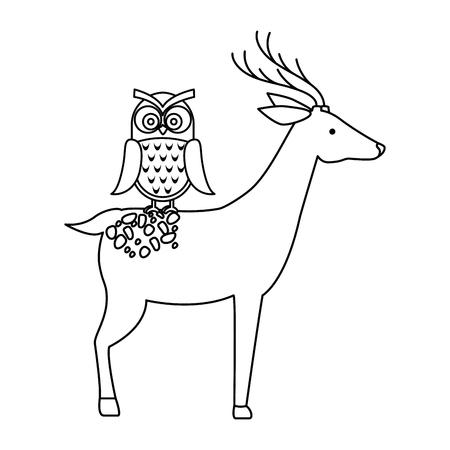 올빼미 벡터 일러스트 디자인 야생 사슴 일러스트