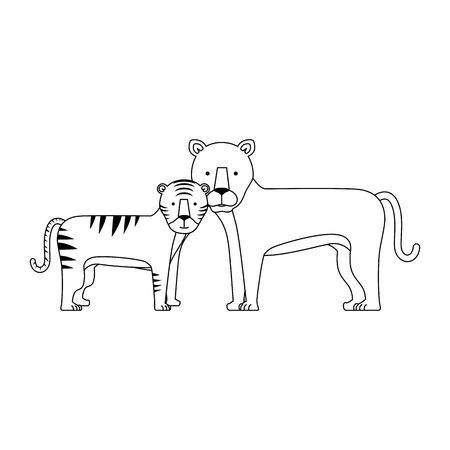 野生のトラとヒョウのベクトルのイラスト デザイン  イラスト・ベクター素材