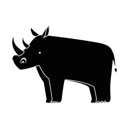Een wild ontwerp van de het pictogram vectorillustratie van de rinoceros geïsoleerd pictogram