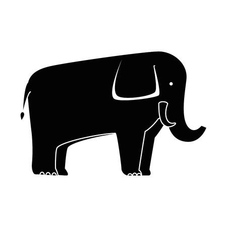 Um elefante selvagem isolado ícone vector ilustração design Ilustración de vector