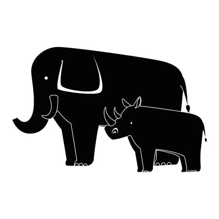A wild elephant and rhino vector illustration design