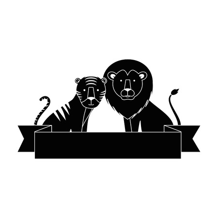 A wild tiger and lion vector illustration design
