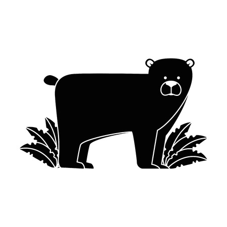 A wild bear grizzly with bush vector illustration design Illustration