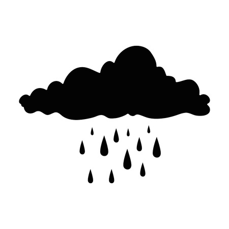A cloud sky silhouette with rain drops vector illustration design