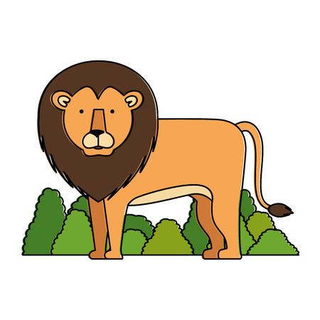 A wild lion with bush jungle vector illustration design
