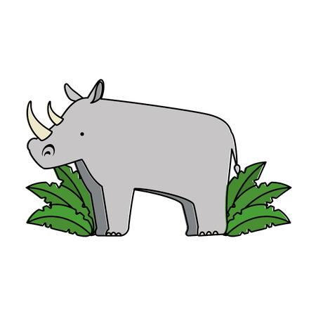 Un rinoceronte selvaggio con progettazione dell'illustrazione di vettore della giungla del cespuglio Archivio Fotografico - 88618896