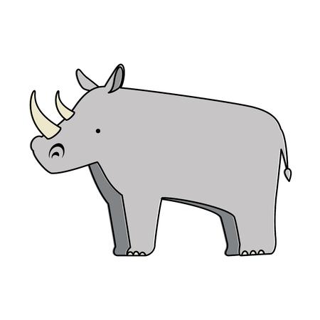野生のサイ分離アイコンベクトルイラストデザイン