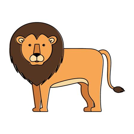 野生と大きなライオンベクトルイラストデザイン