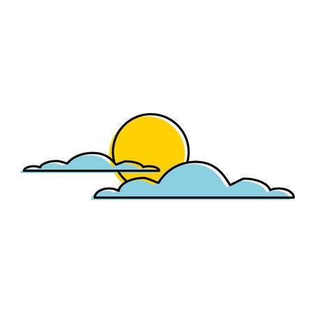 A cloud sky silhouette with sun vector illustration design