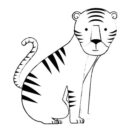 野生の虎分離アイコンベクトルイラストデザイン