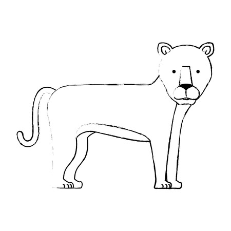 野生と大きなライオン女性ベクターイラストデザイン