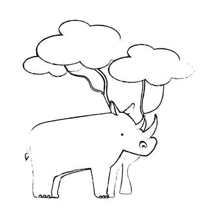 A wild rhinoceros with tree vector illustration design