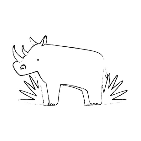 A wild rhinoceros with bush jungle vector illustration design