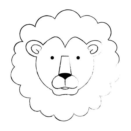 野生のライオンヘッドのアイコンベクトルイラストデザイン