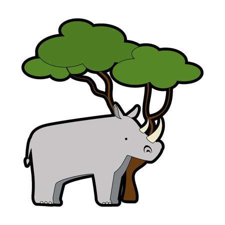 A wild rhinoceros with tree vector illustration design
