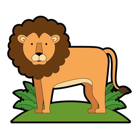 ブッシュジャングルベクターイラストデザインの野生のライオン