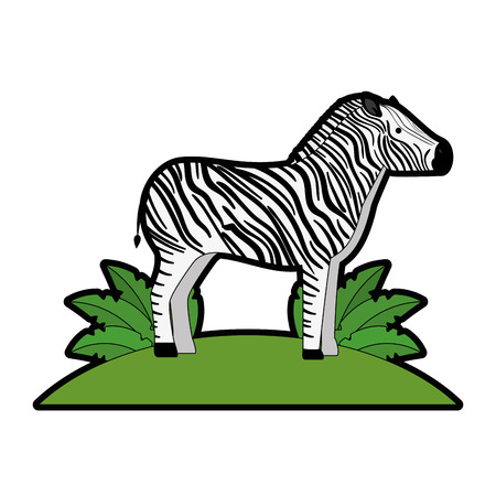 A wild zebra in jungle vector illustration design