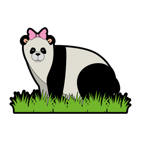 A wild bear panda with bush vector illustration design Illusztráció