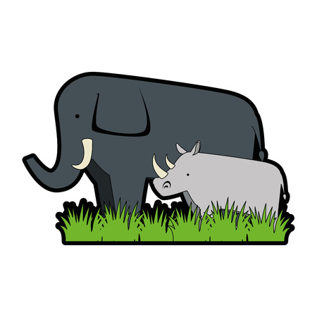 A wild elephant and rhino vector illustration design