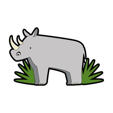 ブッシュジャングルベクターイラストデザインの野生サイ