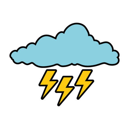 A cloud with rays storm vector illustration design Illustration
