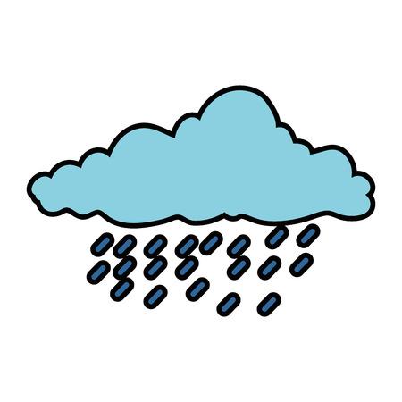 A cloud sky silhouette with rain drops vector illustration design