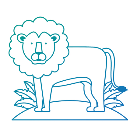 A wild lion with bush jungle vector illustration design
