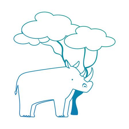 Een wilde rinoceros met ontwerp van de boom het vectorillustratie Vector Illustratie