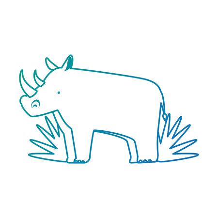 부시 정글 벡터 일러스트 레이 션 디자인 야생 코뿔소 일러스트