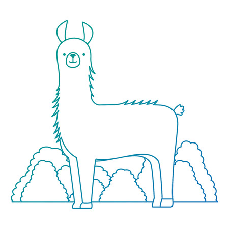 A peruvian llama in jungle vector illustration design