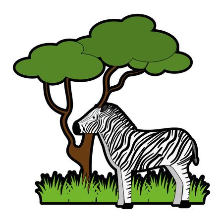 정글 벡터 일러스트 디자인에서 야생 얼룩말
