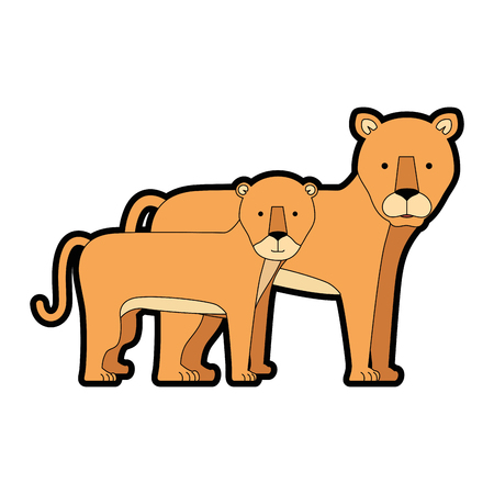 A wild and big lion female with son vector illustration design