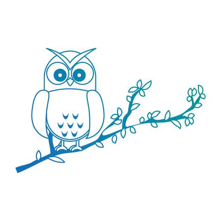 An owl bird in branch vector illustration design