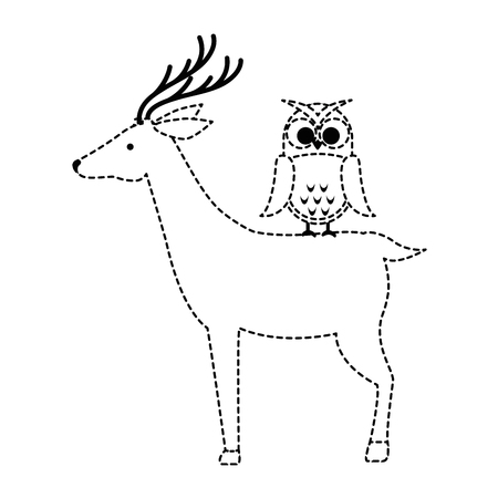 A wild deer with owl vector illustration design