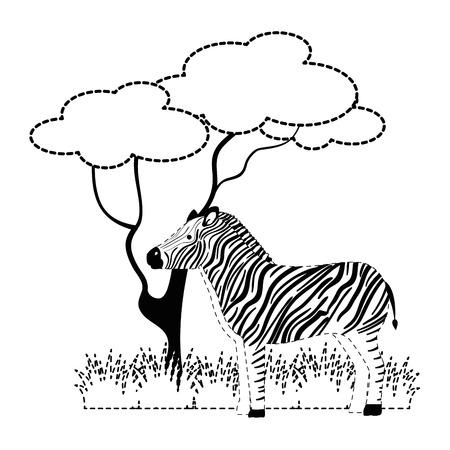 ジャングルベクターイラストデザインの野生のシマウマ